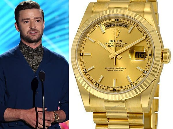 Justin Timberlake - Rolex Oyster Perpetual Day Date in Goud