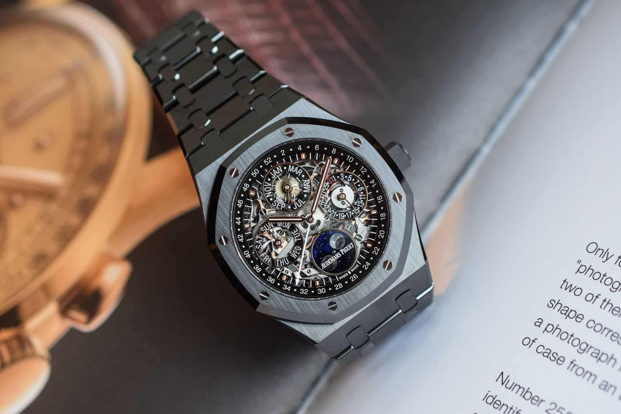 Audemars Piguet Royal Oak: Perpetual Calendar Openworked Black Ceramic Horloge