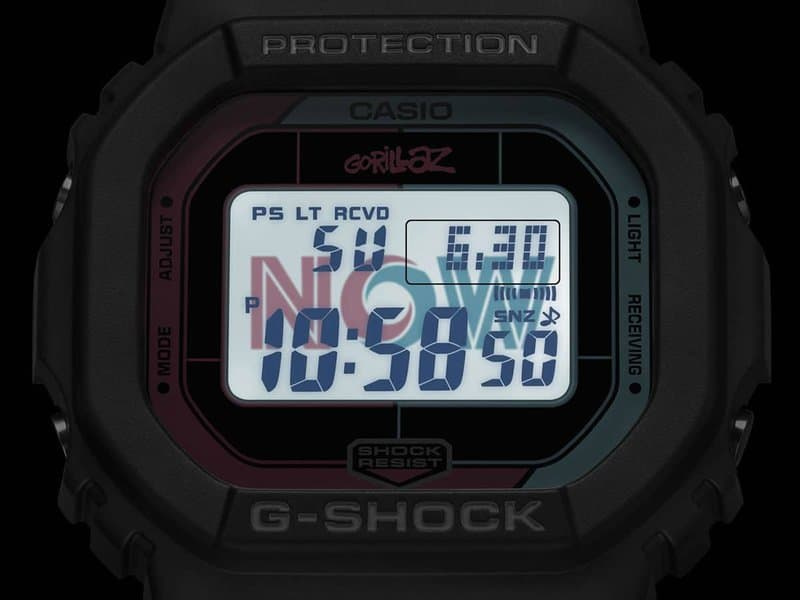 "Casio G-Shock horloges: In de Casio G-Shock Gorillaz DW-5600 licht ""NOW"" op in het donker naar het nummer The Now Wow - van Gorillaz"