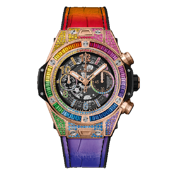 Dameshorloge 2019: Hublot Big Bang One Click Rainbow King Gold