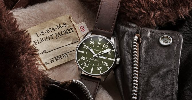 Hamilton Watch Collaboration: Khaki Pilot Schott NYC Limited Edition Pilot Watch Har militær bakgrunn og stil